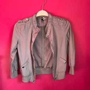H&M Trendy Pewter Gray Silver Crop Bomber Jacket